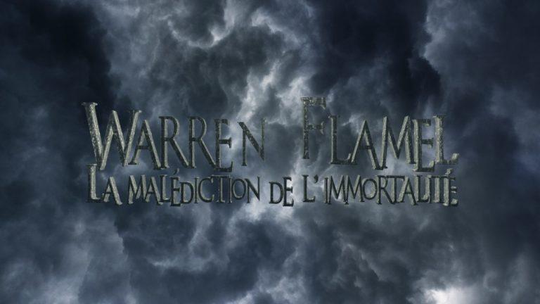 Le titre de la websérie Warren Flamel apparaît sur un ciel très nuageux.