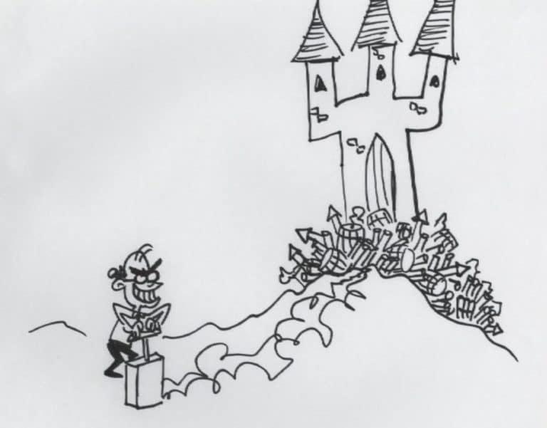 Caricature qui représente Waking Sleeping Beauty avec Jeffrey Katzenberg